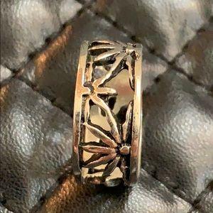 Vintage Boho 90s Sterling Silver Pot Leaf Ring
